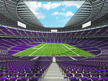 3D render of a round football stadium with purple seats for hund Royalty Free Stock Photography