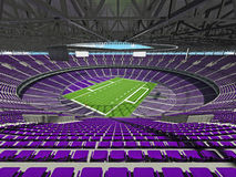 3D render of a round football stadium with purple seats for hund Stock Photography