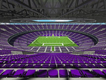 3D render of a round football stadium with purple seats for hund Stock Image