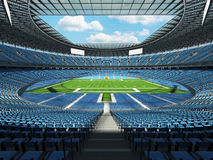 3D render of a round football stadium with sky blue seats for hundred thousand people Royalty Free Stock Image