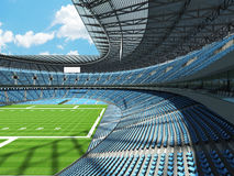 3D render of a round football stadium with sky blue seats for hundred thousand people Stock Photos