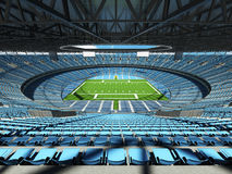 3D render of a round football stadium with sky blue seats for hundred thousand people Stock Images