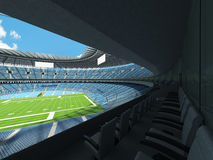 3D render of a round football stadium with sky blue seats for hundred thousand people Royalty Free Stock Photos