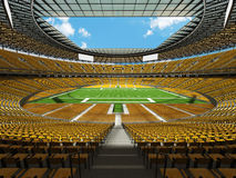 3D render of a round football stadium with yellow seats for hundred thousand fans Royalty Free Stock Photo