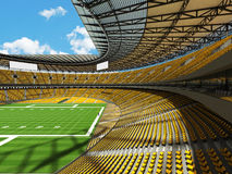 3D render of a round football stadium with yellow seats for hundred thousand fans Stock Photo
