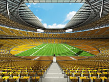 3D render of a round football stadium with yellow seats for hundred thousand fans Stock Photos