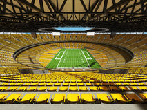 3D render of a round football stadium with yellow seats for hundred thousand fans Stock Images