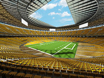 3D render of a round football stadium with yellow seats for hundred thousand fans Royalty Free Stock Image