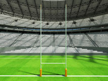 3D render of a round rugby stadium with  white seats and VIP boxes Royalty Free Stock Photography
