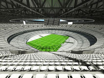 3D render of a round rugby stadium with  white seats and VIP boxes Royalty Free Stock Photo