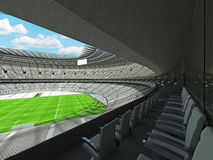 3D render of a round rugby stadium with  white seats and VIP boxes Royalty Free Stock Image