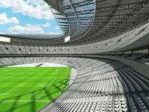 3D render of a round rugby stadium with  white seats and VIP boxes Stock Photo