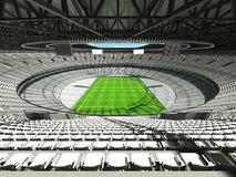3D render of a round rugby stadium with  white seats and VIP boxes. For hundred thousand people Royalty Free Stock Photo