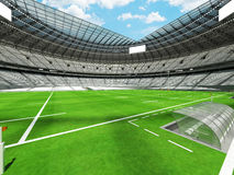 3D render of a round rugby stadium with  white seats and VIP boxes Royalty Free Stock Images