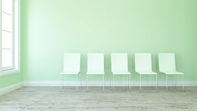 Row of chairs in Empty Room. 3D render of a row of chairs in an empty room Stock Images