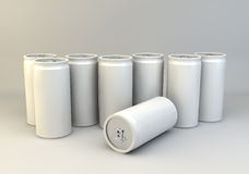 3d render of rows of white soda o fizzy drink cans. Blank packaging for drinks ready for design application Royalty Free Stock Photography