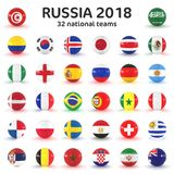 3d render - Russia 2018 - 32 footballs with national flags. On white background Royalty Free Stock Images