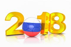 3d render - russia 2018 - soccer - football - ball. 3d render - The year 2018 in gold on a white background. The zero is represented by a football colored in the Stock Photo