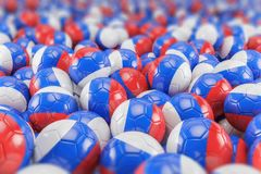 3d render - russia soccer - footballs. Balls - depth of field Royalty Free Stock Photo
