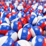 3d render - russia soccer - footballs. Balls - depth of field Stock Photos
