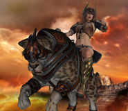 3D render of saber tooth cat and woman warrior. Royalty Free Stock Photos