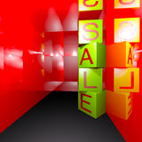 3d render sale box Royalty Free Stock Image