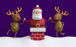 3d render, Santa Claus stuck in the red brick chimney, rein deer Royalty Free Stock Images