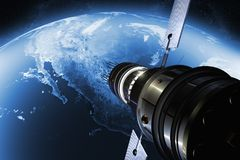 Satellite orbiting the earth. 3D render of a satellite orbiting the earth Stock Photography