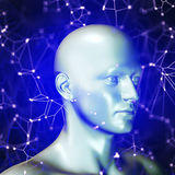 3D render of a science and technology background with man head Royalty Free Stock Image