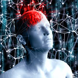 3D render of a science and technology background with man head w Stock Photo
