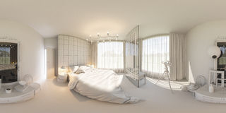 3d render 360 seamless panorama of bedroom Royalty Free Stock Photography