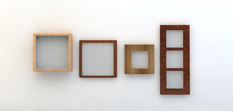 3d render of a selection of frames on a white wall Royalty Free Stock Images