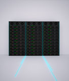 3d render of server rack with fiber optic Royalty Free Stock Photos