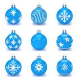 3d render - set of blue christmas bauble over white background. 3d render set of blue christmas bauble with pattern over white background - merry christmas Stock Images