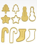3d Render of a Set of Christmas Cookie Cutters Stock Photography