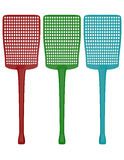 3d Render of a Set of Fly Swatters. On white royalty free illustration