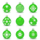 3d render - set of green christmas bauble over white background. 3d render set of green christmas bauble with pattern over white background - merry christmas Royalty Free Stock Photo