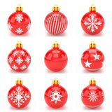 3d render - set of red christmas bauble over white background. 3d render set of red christmas bauble with pattern over white background - merry christmas concept Stock Image
