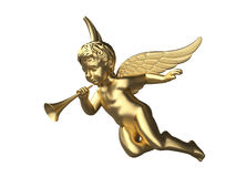 3d render of a shiny angel with trumpet. Cute and beautiful angel with trumpet Royalty Free Stock Photos