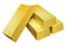 3D render of shiny pure gold bars Royalty Free Stock Photography