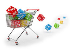 3d render - shopping cart with colorful cubes of percent Royalty Free Stock Photo