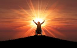 3D silhouette of a female in a wheelchair with her arms raised a. 3D render of a silhouette of a female in a wheelchair with her arms raised against a sunset Vector Illustration