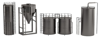 3d render of silos Stock Images