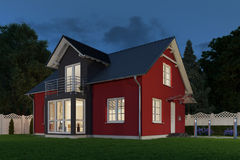 3d render - single family house - night Royalty Free Stock Photos