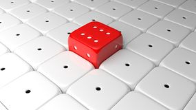 3D render six red dice Royalty Free Stock Photos