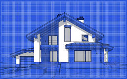 3D render sketch of modern cozy house in chalet style. For sale or rent. Aqua crayon style with blue graph grid paper background vector illustration