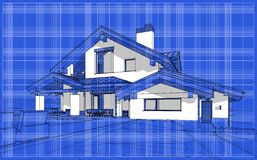 3D render sketch of modern cozy house in chalet style. For sale or rent. Aqua crayon style with blue graph grid paper background stock illustration