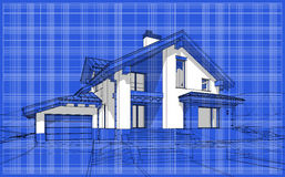 3D render sketch of modern cozy house in chalet style. For sale or rent. Aqua crayon style with blue graph grid paper background royalty free illustration