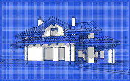 3D render sketch of modern cozy house in chalet style. For sale or rent. Aqua crayon style with blue graph grid paper background Royalty Free Stock Photo