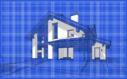 3D render sketch of modern cozy house in chalet style. For sale or rent. Aqua crayon style with blue graph grid paper background Royalty Free Stock Photography